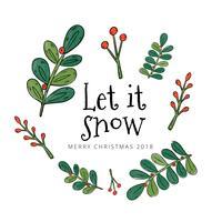Söta löv, grenar och bär som flyter med julcitationstecken