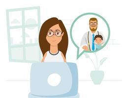 kvinna som använder bärbara datorn för ett videosamtal hemma