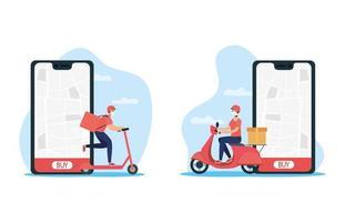 online leveransservice via smartphone med kurirer vektor