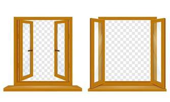 öppna träfönster med transparent glasuppsättning vektor