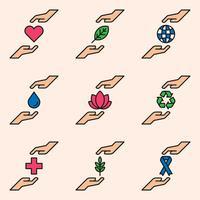 Hand Människor Omsorg Logo Design Koncept Mall vektor