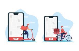 online-leveransservice via smartphone vektor