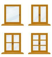 stängt träfönster med transparent glasuppsättning vektor