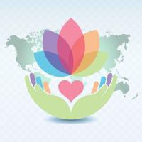 Händer som håller en hjärta och Lotus Flower Illustration