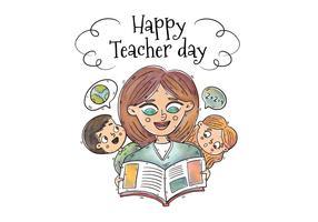 Aquarell-Lehrer und Kinder um ein Buch zum Lehrertag zu lesen vektor