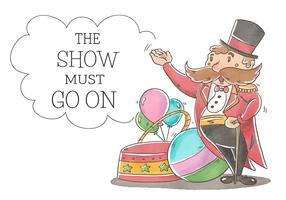Zirkus-Gastgeber mit dem großen Schnurrbart, der mit Ballonen, Ball und Band lächelt. vektor