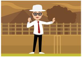 Kostenlose Cricket Schiedsrichter Charakter Vektor