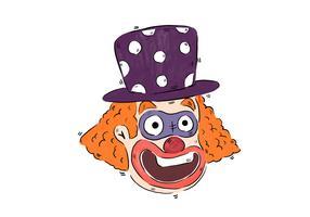 Lustiger lächelnder Clown mit purpurrotem Hut vektor
