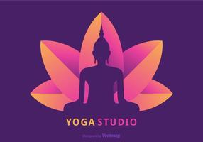 Buddah-Schattenbild, das auf Lotus Flower Vector sitzt