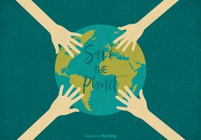 Retten Sie das Planeten-Retro Vektor-Erdtagesplakat