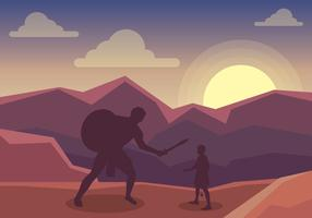 David och Goliath i mitten av kampillustrationen