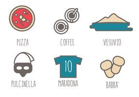 Napoli ikoner sätta fri vektor