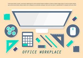 öronmärkt kontor arbetsplats vektor illustration