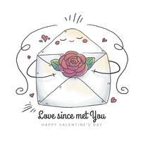 Söt kuverttecken med blomma inuti och hjärtor flytande