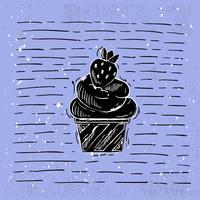 Handdragen Vector Cake Illustration
