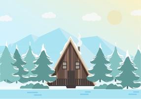 Vacker vektor vinter landskaps illustration
