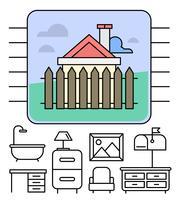 Kostenlose lineare Möbel Icons vektor