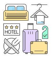 lineare Hotelikonen eingestellt vektor