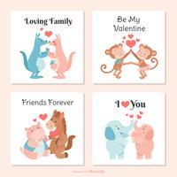 Söt kreaturer i kärlek Vector Valentine kort