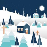 Vektor-Winter-Landschaftsillustration