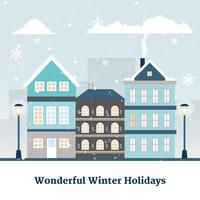 Vektor Vinter Cityscape Illustration