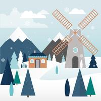 Schöne Winter-Landschaftsvektor-Illustration