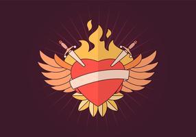 tecknad flammande vinge hjärta vektor