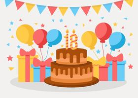 Gratis födelsedagsfest 18 års vektor