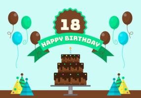 18 Jahre Geburtstags-Party-Vektor-Illustration