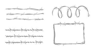Rasiermesser-Drahtsammlungs-Vektor flach