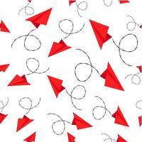 sömlösa mönster av röda pappersplan vektor
