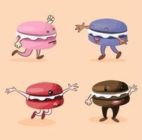Sammlung von lustigen Macaron-Charakteren vektor