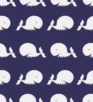 sömlösa mönster av söt vit val vektor