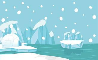 arktischer Landschaftshintergrund mit Gletschern und Iglu