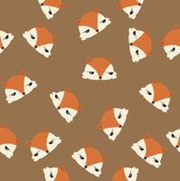 nahtloses Muster der niedlichen Fuchsköpfe vektor