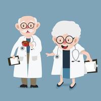glückliche Karikaturärzte mit Klemmbrett und Stethoskop