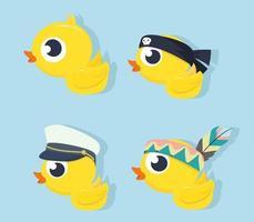Sammlung von süßen Enten in verschiedenen Outfits vektor