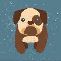 söt bulldog tecknad vektor