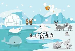 Tiere und Menschen in einer kalten arktischen Landschaft vektor