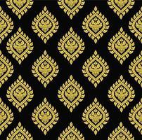 sömlösa mönster av gyllene thailändska konstelement vektor