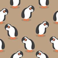 sömlösa mönster av söta pingviner vektor