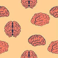 sömlösa mönster av rosa hjärnor vektor