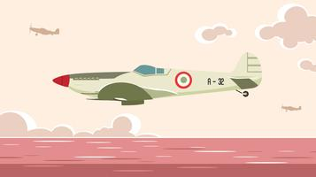 Segelflugzeug flogen über den freien Vektor des Meeres