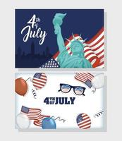 usa oberoende dag firande banner set