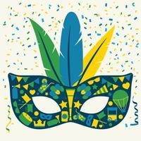 ljus karneval ikoner mask set