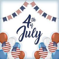 USA: s självständighetsdag med flaggor och ballonger