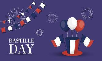 bastille dag firande banner med ballonger vektor
