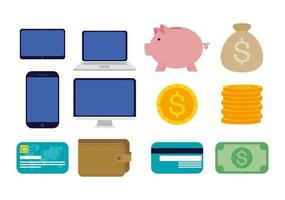 pengar och ekonomi teknik ikonuppsättning