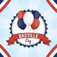 bastille dag firande kort set med ballonger vektor