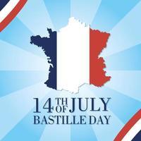Bastildagsfirande med karta över Frankrike